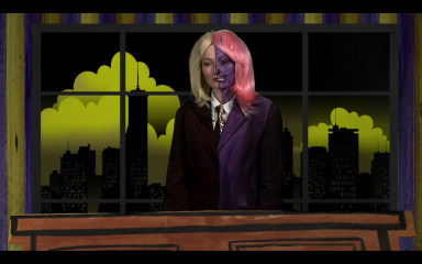TwoFace is about to get rude, because someone of the audience was disagreeing with her opinion